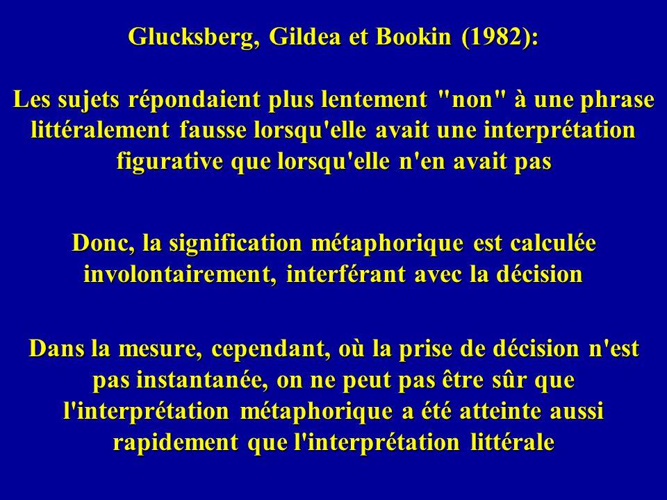 Glucksberg, Gildea et Bookin (1982): Les sujets répondaient plus lentement non à une phrase littéralement fausse lorsqu elle avait une interprétation figurative que lorsqu elle n en avait pas