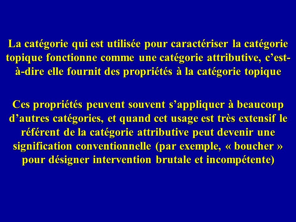 La catégorie qui est utilisée pour caractériser la catégorie topique fonctionne comme une catégorie attributive, c'est-à-dire elle fournit des propriétés à la catégorie topique