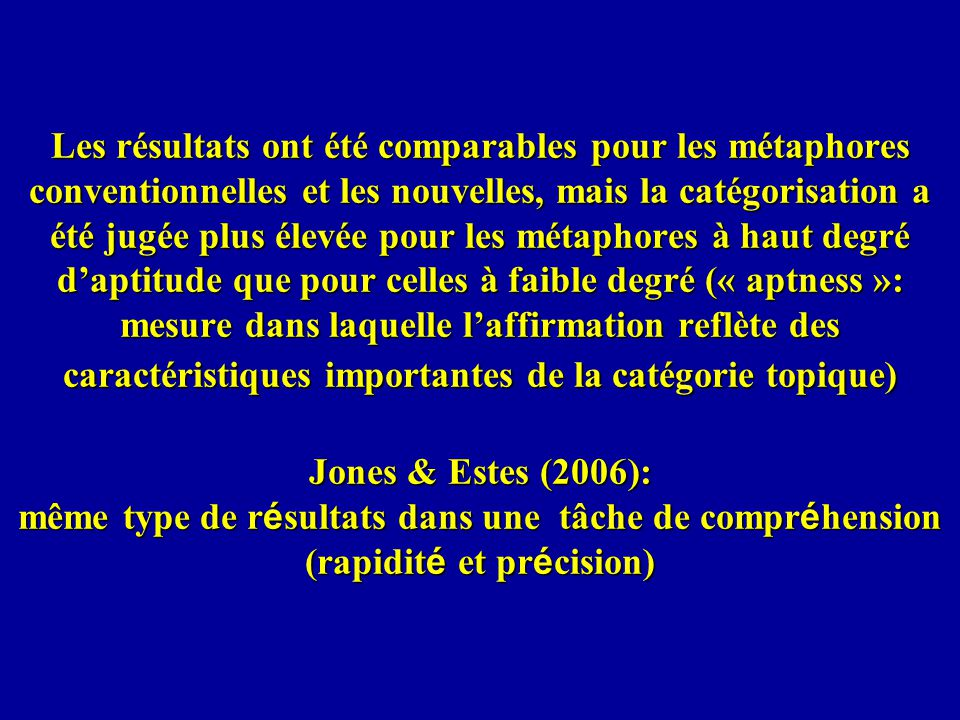 Les résultats ont été comparables pour les métaphores conventionnelles et les nouvelles, mais la catégorisation a été jugée plus élevée pour les métaphores à haut degré d'aptitude que pour celles à faible degré (« aptness »: mesure dans laquelle l'affirmation reflète des caractéristiques importantes de la catégorie topique) Jones & Estes (2006): même type de résultats dans une tâche de compréhension (rapidité et précision)