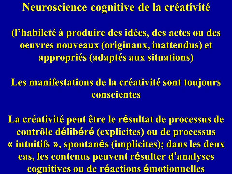 Neuroscience cognitive de la créativité (l'habileté à produire des idées, des actes ou des oeuvres nouveaux (originaux, inattendus) et appropriés (adaptés aux situations) Les manifestations de la créativité sont toujours conscientes La créativité peut être le résultat de processus de contrôle délibéré (explicites) ou de processus « intuitifs », spontanés (implicites); dans les deux cas, les contenus peuvent résulter d'analyses cognitives ou de réactions émotionnelles