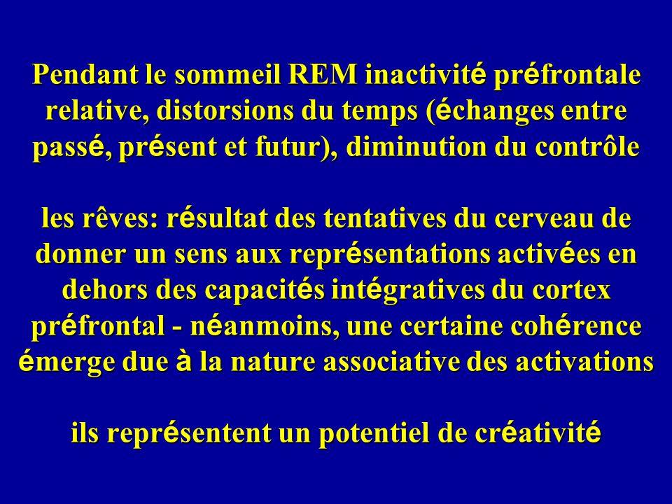 Pendant le sommeil REM inactivité préfrontale relative, distorsions du temps (échanges entre passé, présent et futur), diminution du contrôle les rêves: résultat des tentatives du cerveau de donner un sens aux représentations activées en dehors des capacités intégratives du cortex préfrontal - néanmoins, une certaine cohérence émerge due à la nature associative des activations ils représentent un potentiel de créativité