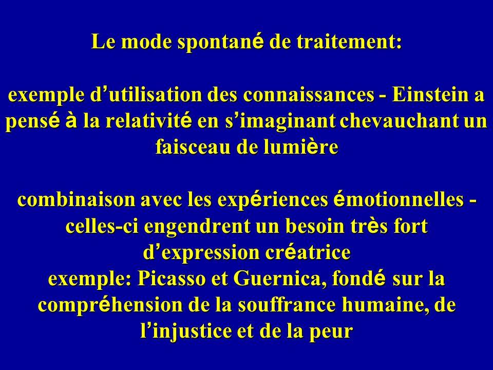 Le mode spontané de traitement: exemple d'utilisation des connaissances - Einstein a pensé à la relativité en s'imaginant chevauchant un faisceau de lumière combinaison avec les expériences émotionnelles - celles-ci engendrent un besoin très fort d'expression créatrice exemple: Picasso et Guernica, fondé sur la compréhension de la souffrance humaine, de l'injustice et de la peur