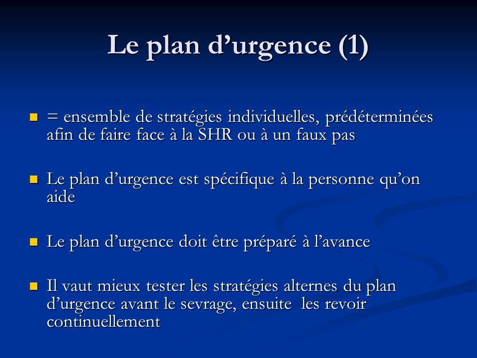 Le plan d'urgence (1) = ensemble de stratégies individuelles, prédéterminées afin de faire face à la SHR ou à un faux pas.