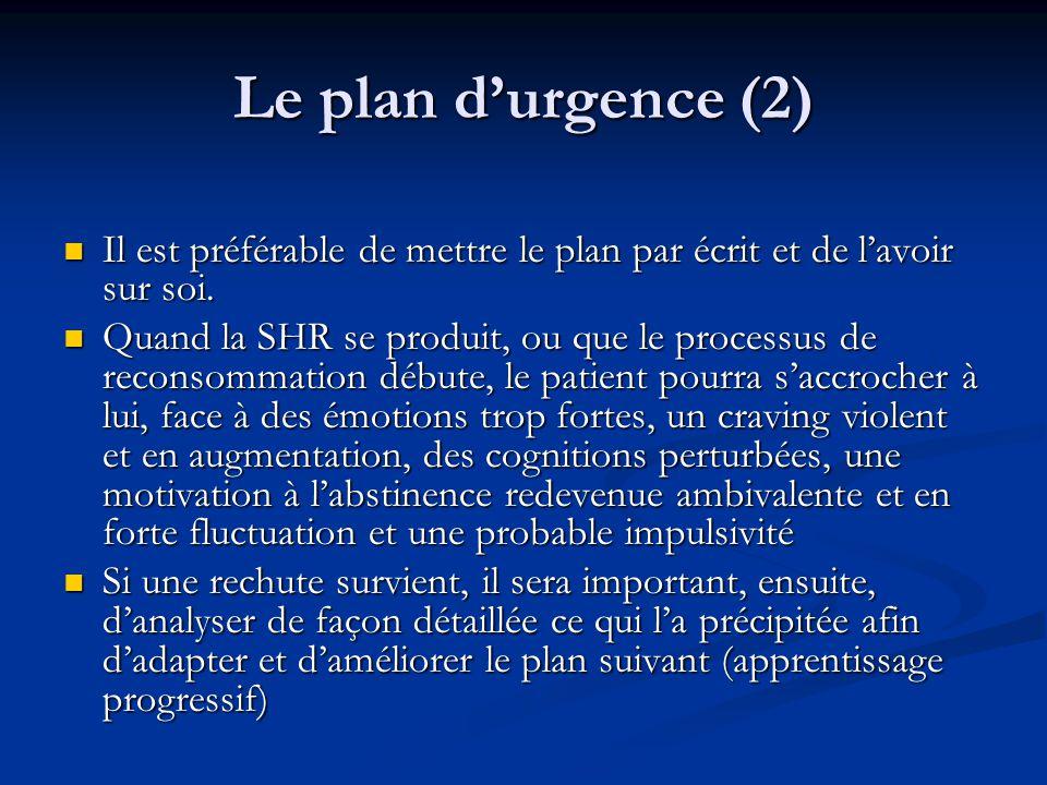 Le plan d'urgence (2) Il est préférable de mettre le plan par écrit et de l'avoir sur soi.