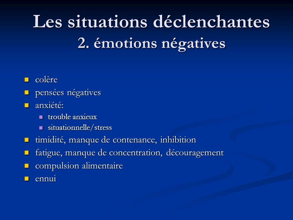 Les situations déclenchantes 2. émotions négatives