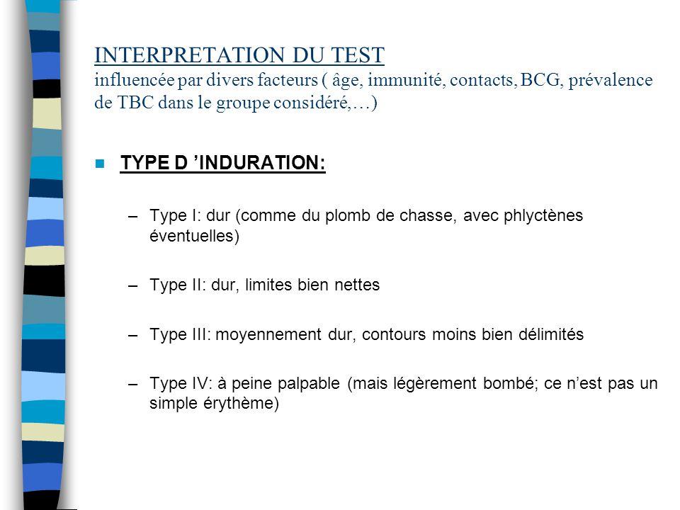 INTERPRETATION DU TEST influencée par divers facteurs ( âge, immunité, contacts, BCG, prévalence de TBC dans le groupe considéré,…)