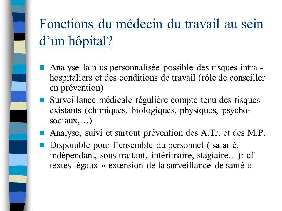 Fonctions du médecin du travail au sein d'un hôpital