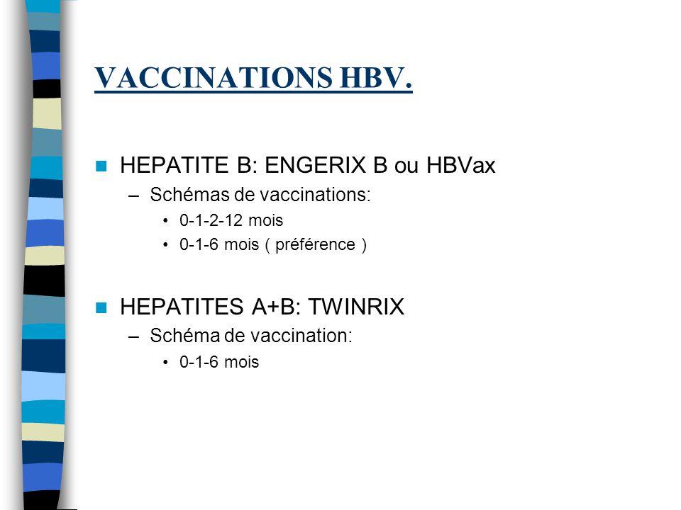 VACCINATIONS HBV. HEPATITE B: ENGERIX B ou HBVax