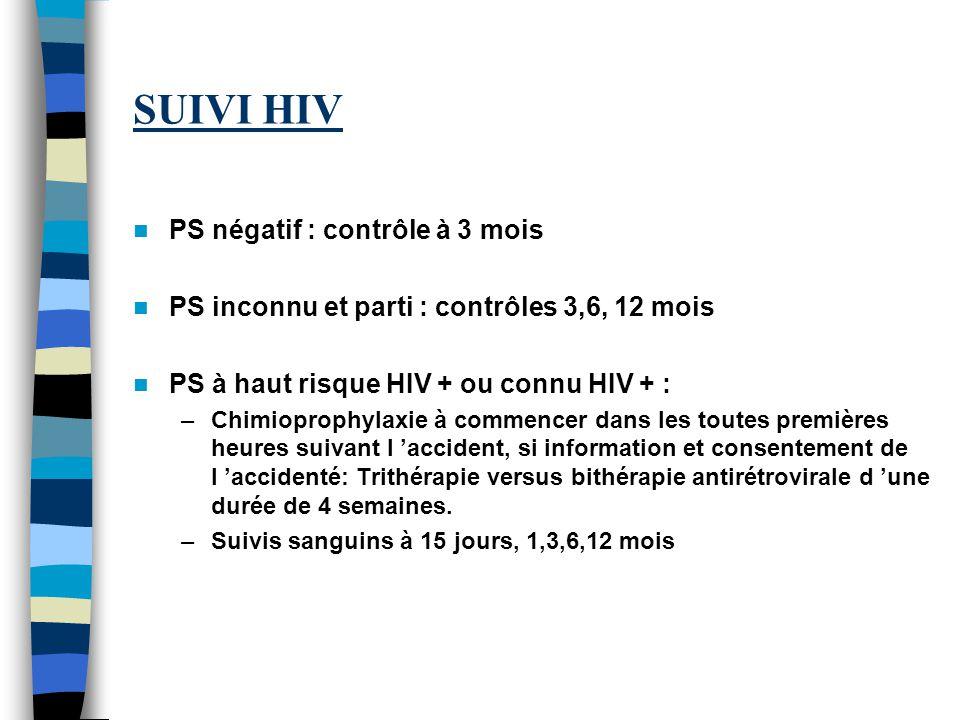 SUIVI HIV PS négatif : contrôle à 3 mois