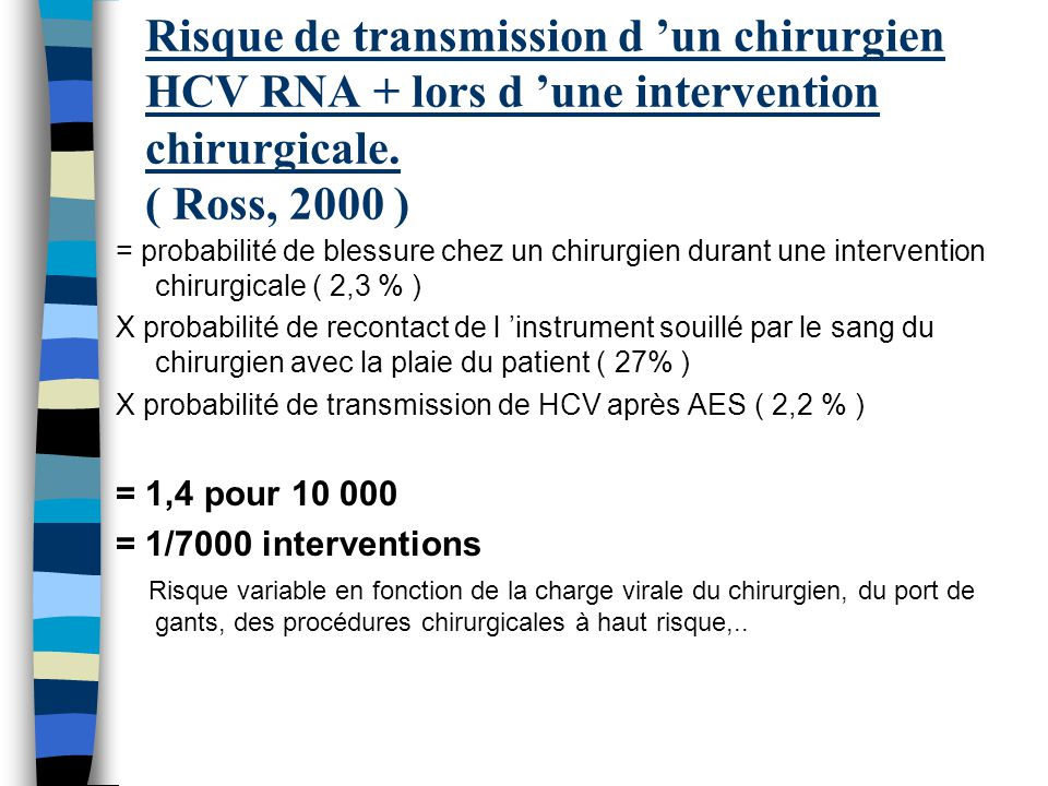 Risque de transmission d 'un chirurgien HCV RNA + lors d 'une intervention chirurgicale. ( Ross, 2000 )