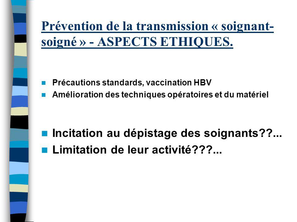 Prévention de la transmission « soignant-soigné » - ASPECTS ETHIQUES.