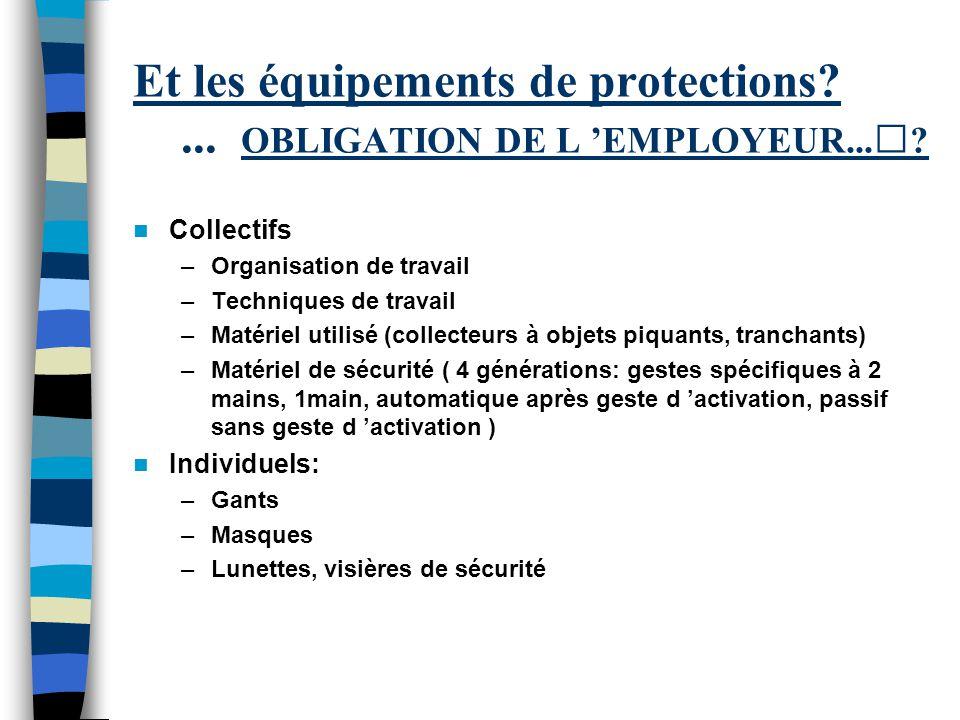 Et les équipements de protections ... OBLIGATION DE L 'EMPLOYEUR...