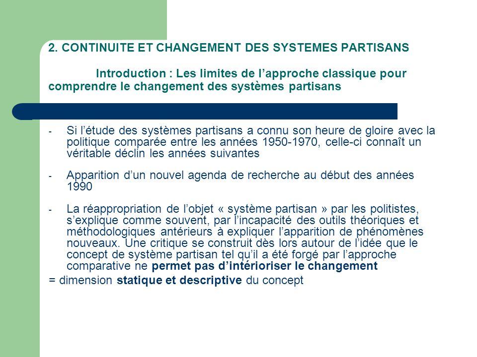 2. CONTINUITE ET CHANGEMENT DES SYSTEMES PARTISANS