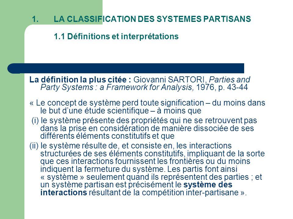 LA CLASSIFICATION DES SYSTEMES PARTISANS 1
