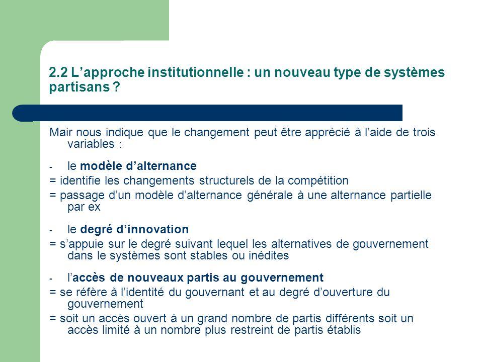 2.2 L'approche institutionnelle : un nouveau type de systèmes partisans