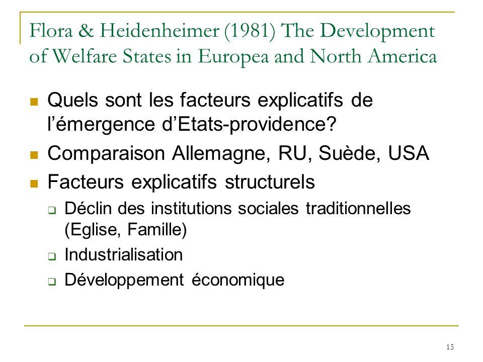 Flora & Heidenheimer (1981) The Development of Welfare States in Europea and North America
