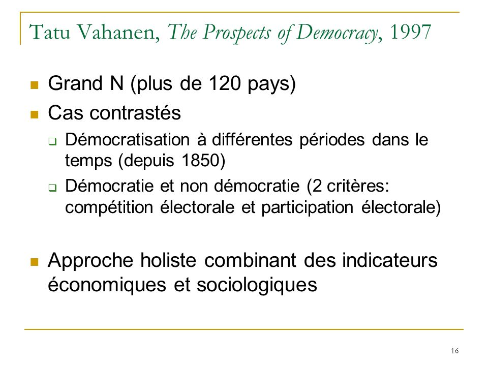 Tatu Vahanen, The Prospects of Democracy, 1997