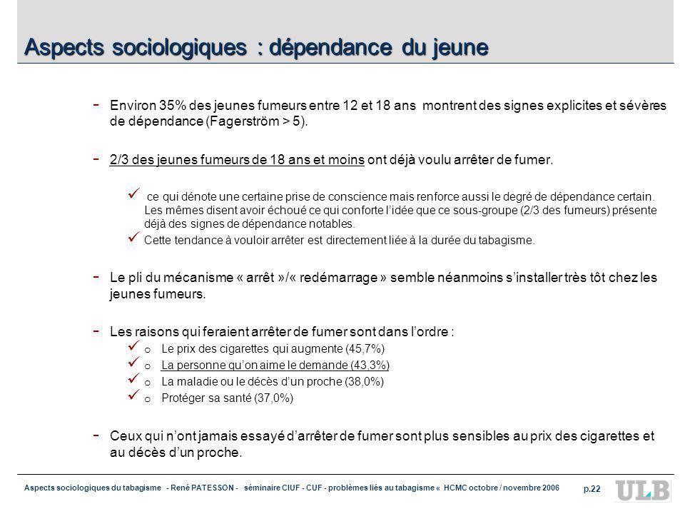 Aspects sociologiques : dépendance du jeune