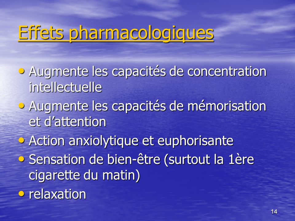 Effets pharmacologiques
