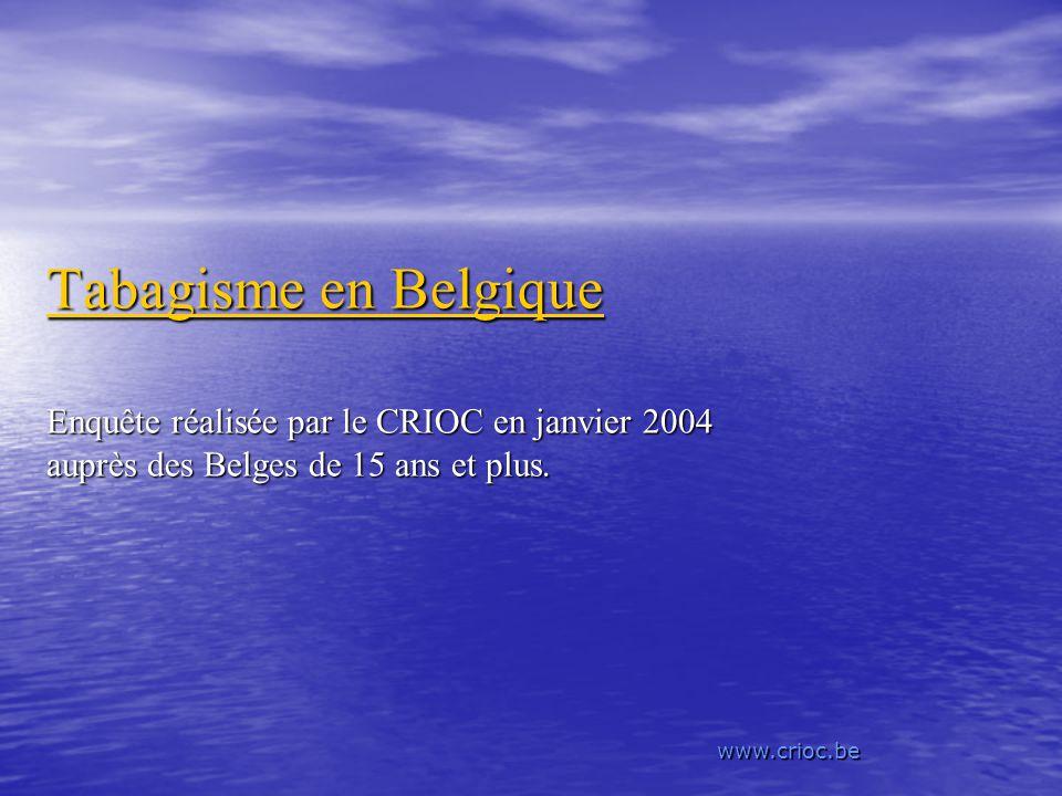 Tabagisme en Belgique Enquête réalisée par le CRIOC en janvier 2004 auprès des Belges de 15 ans et plus.