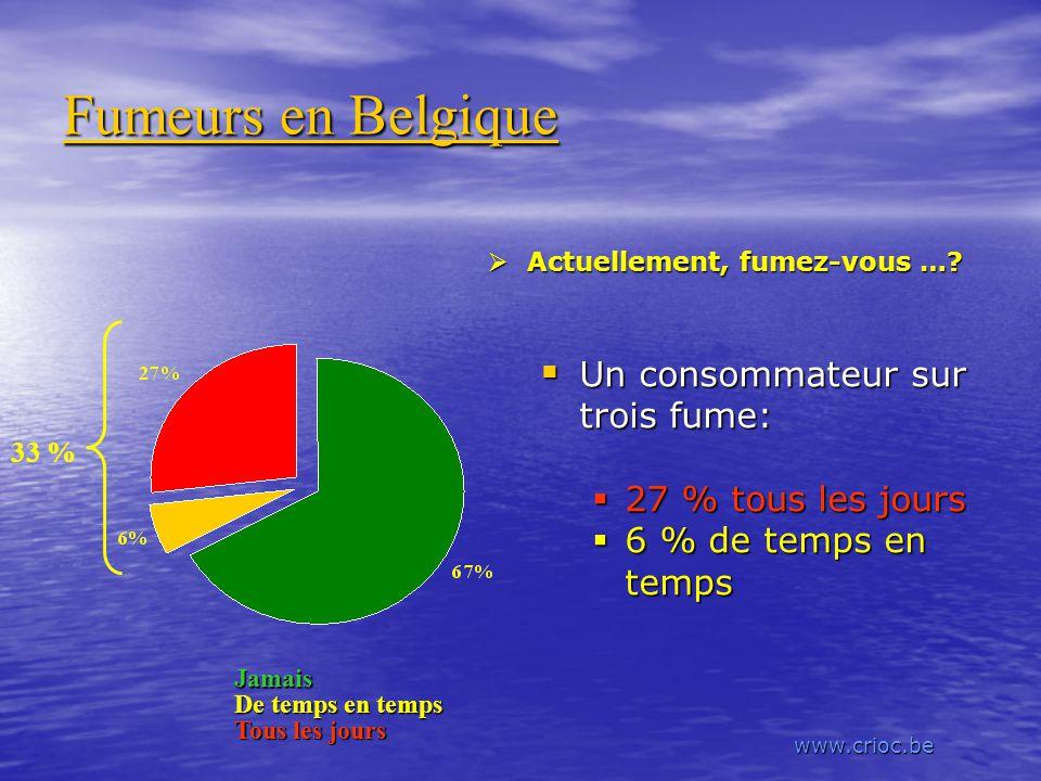 Fumeurs en Belgique Un consommateur sur trois fume: