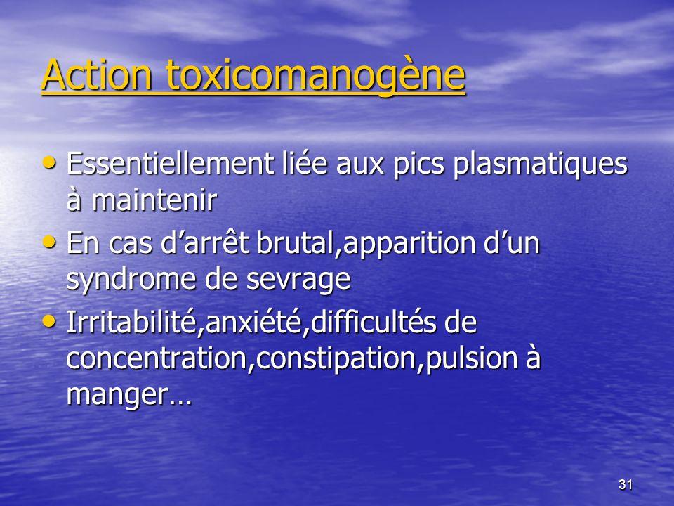 Action toxicomanogène