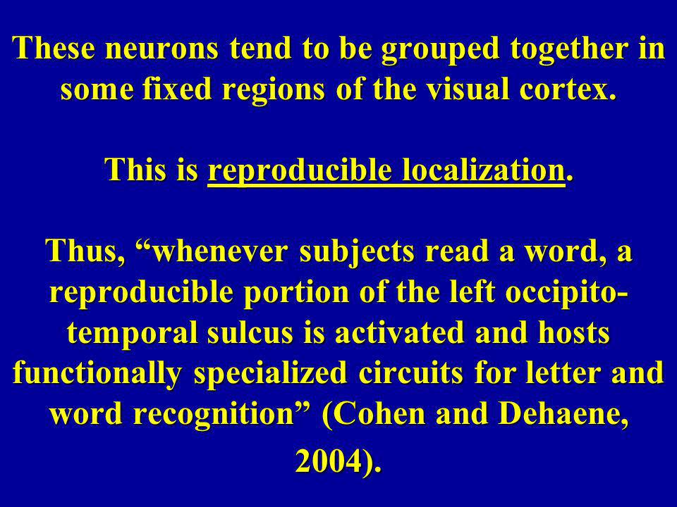 These neurons tend to be grouped together in some fixed regions of the visual cortex.