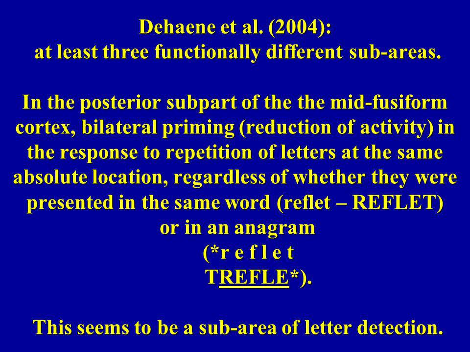 Dehaene et al. (2004): at least three functionally different sub-areas