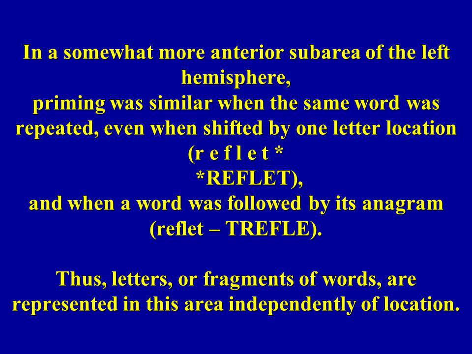 In a somewhat more anterior subarea of the left hemisphere, priming was similar when the same word was repeated, even when shifted by one letter location (r e f l e t * *REFLET), and when a word was followed by its anagram (reflet – TREFLE).