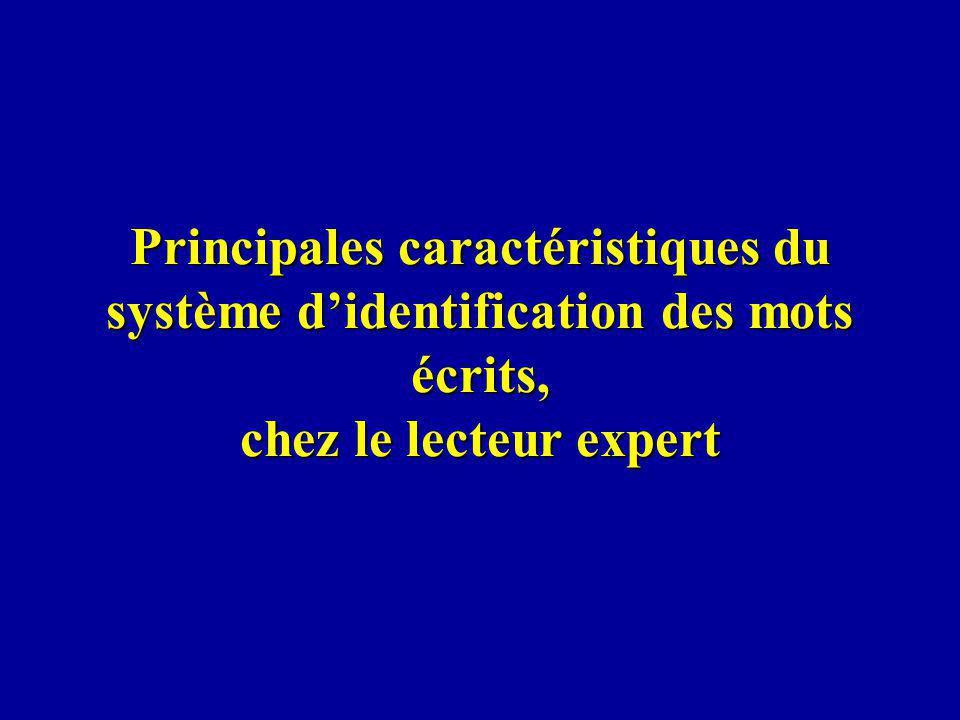 Principales caractéristiques du système d'identification des mots écrits, chez le lecteur expert