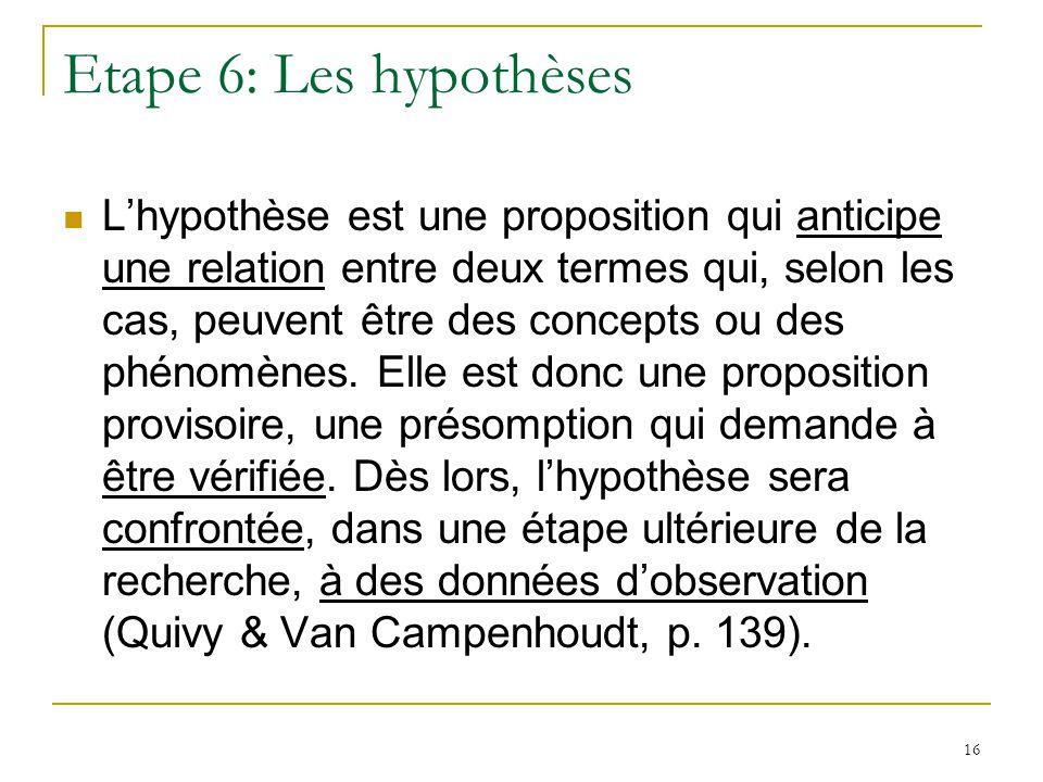 Etape 6: Les hypothèses