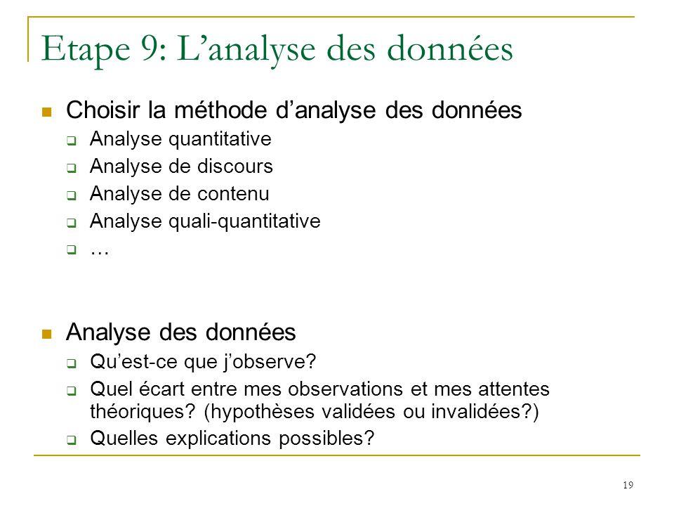 Etape 9: L'analyse des données