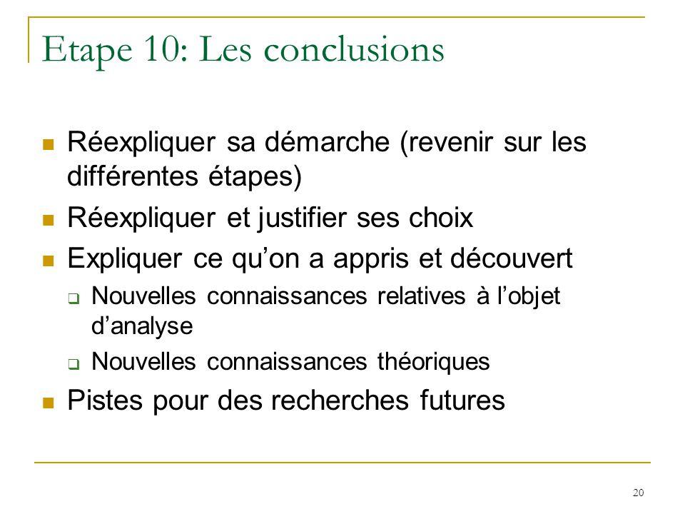 Etape 10: Les conclusions