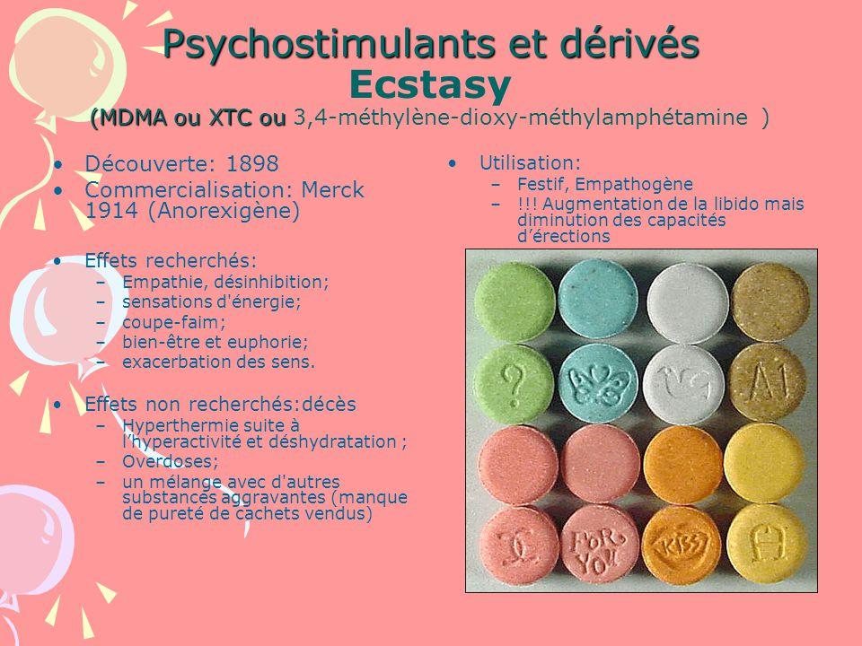 Psychostimulants et dérivés Ecstasy (MDMA ou XTC ou 3,4-méthylène-dioxy-méthylamphétamine )