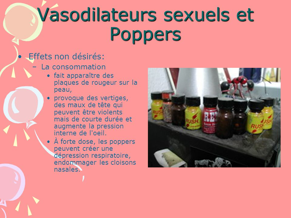 Vasodilateurs sexuels et Poppers