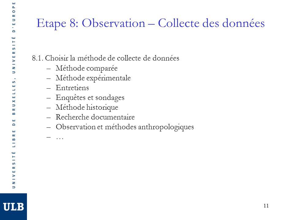 Etape 8: Observation – Collecte des données
