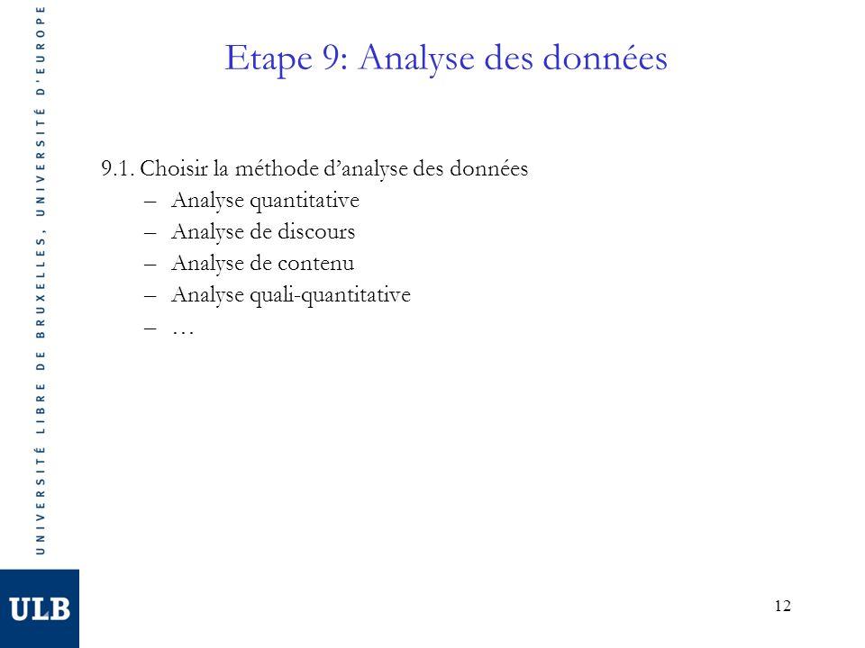 Etape 9: Analyse des données