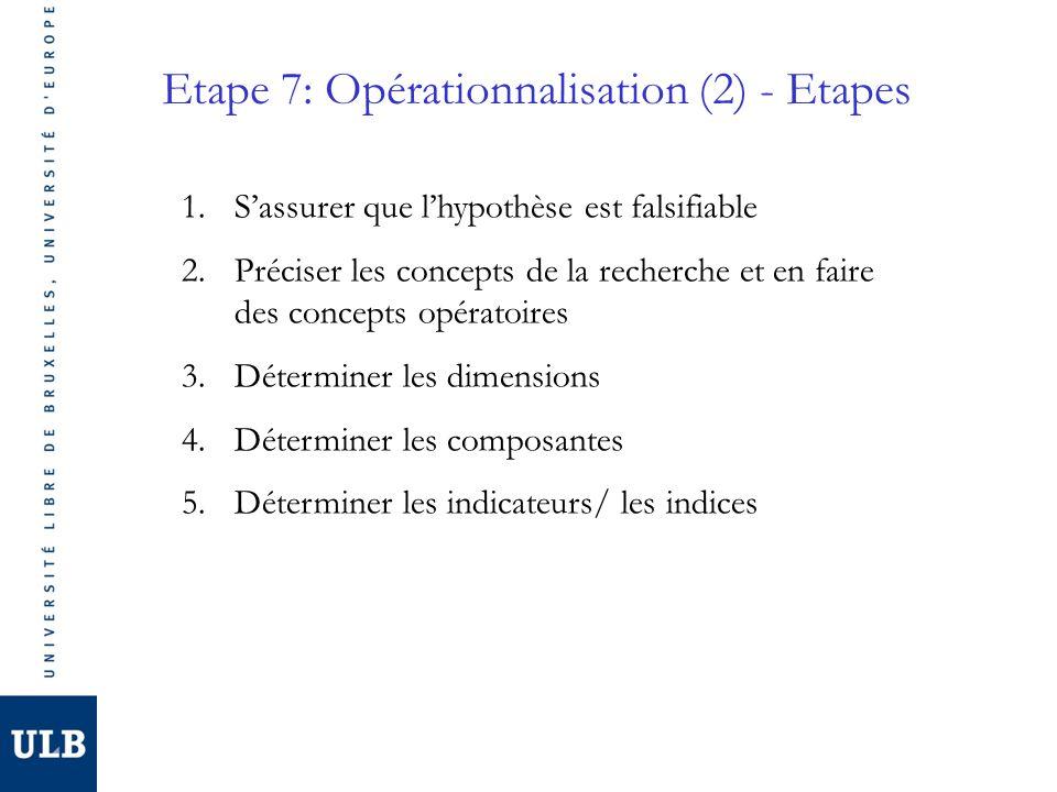 Etape 7: Opérationnalisation (2) - Etapes