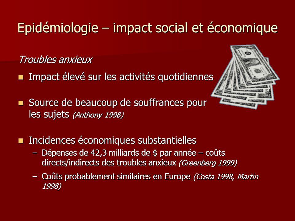 Epidémiologie – impact social et économique