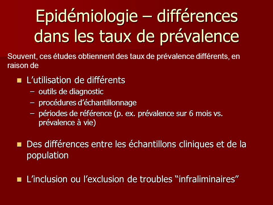 Epidémiologie – différences dans les taux de prévalence