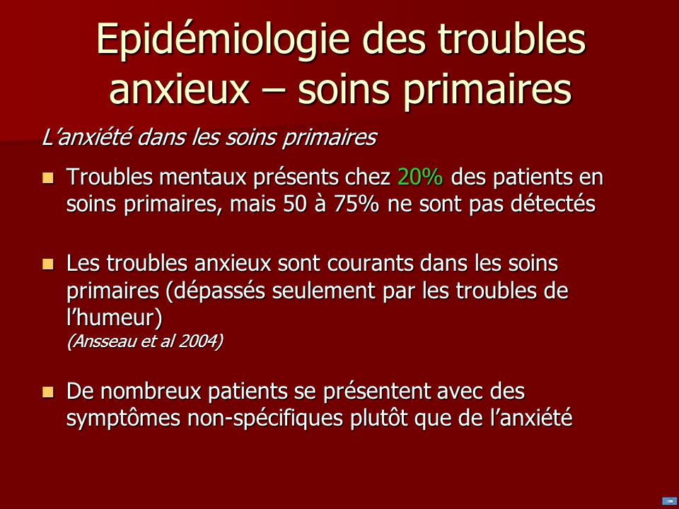 Epidémiologie des troubles anxieux – soins primaires