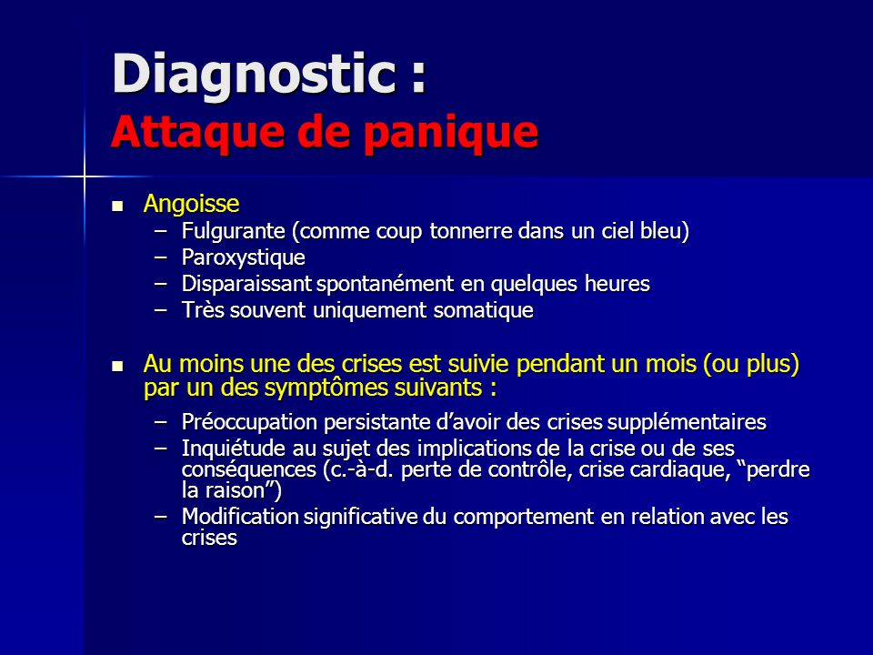 Diagnostic : Attaque de panique