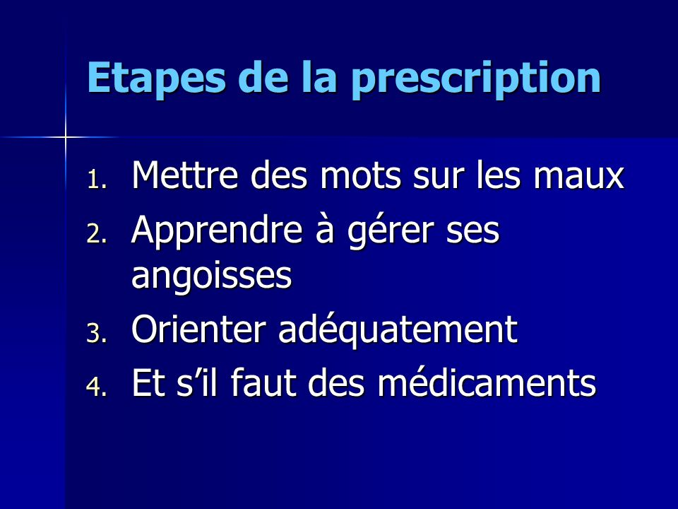 Etapes de la prescription