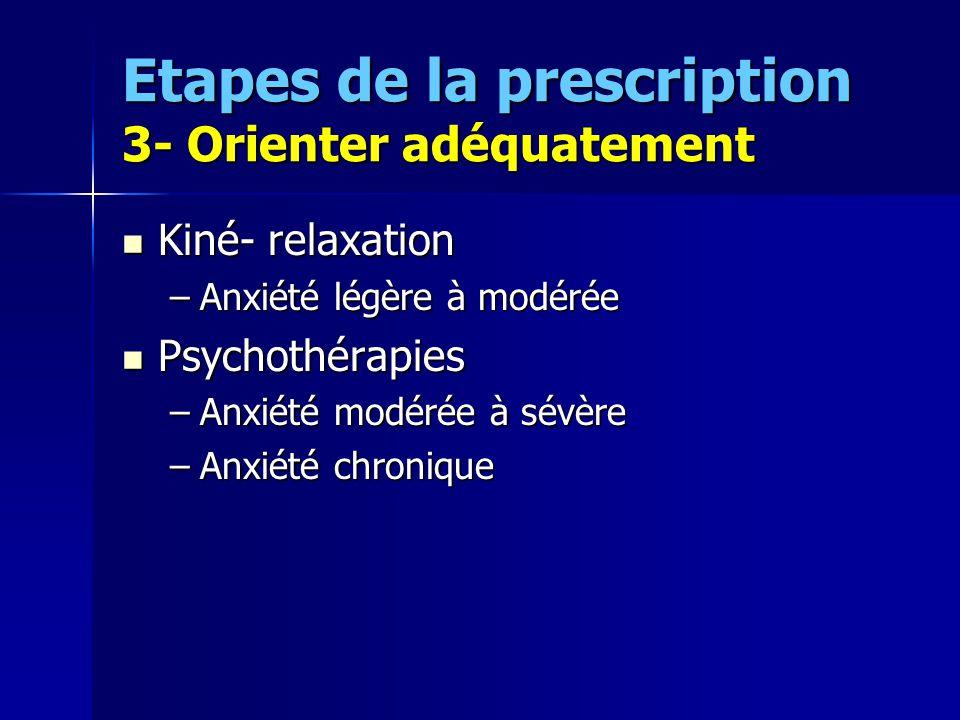 Etapes de la prescription 3- Orienter adéquatement