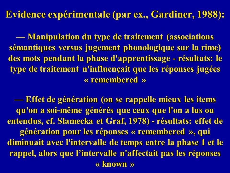 Evidence expérimentale (par ex