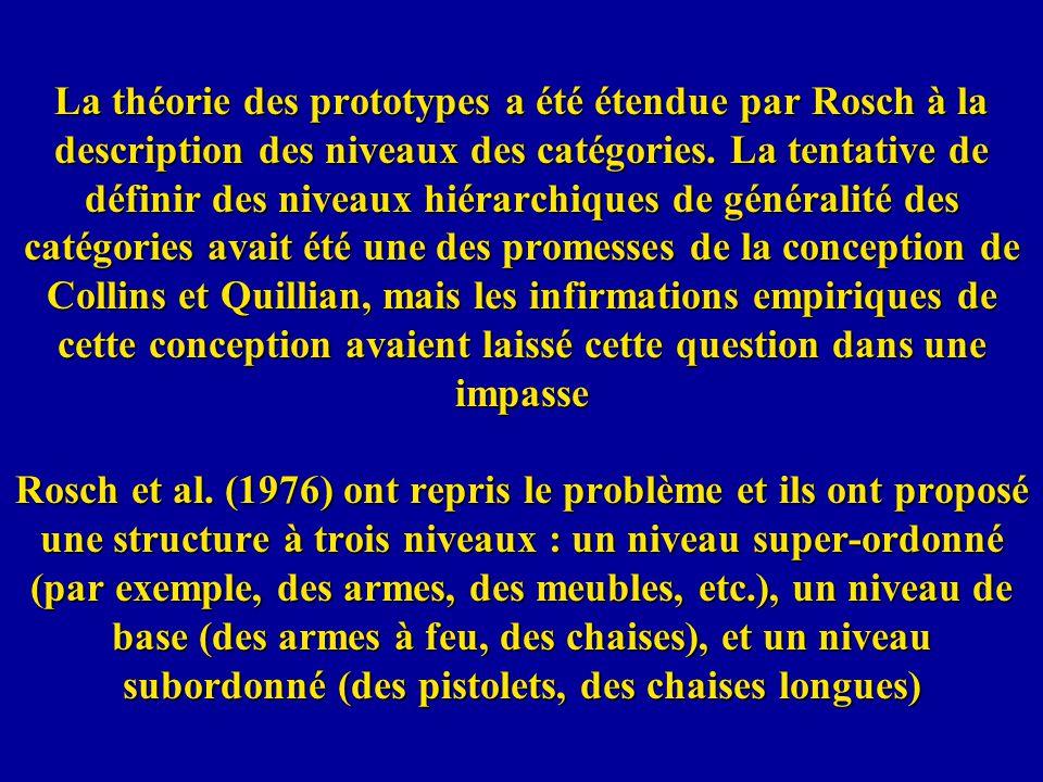 La théorie des prototypes a été étendue par Rosch à la description des niveaux des catégories.