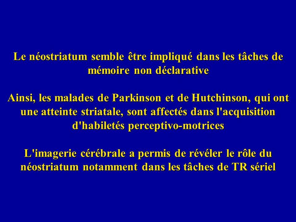 Le néostriatum semble être impliqué dans les tâches de mémoire non déclarative Ainsi, les malades de Parkinson et de Hutchinson, qui ont une atteinte striatale, sont affectés dans l acquisition d habiletés perceptivo-motrices L imagerie cérébrale a permis de révéler le rôle du néostriatum notamment dans les tâches de TR sériel