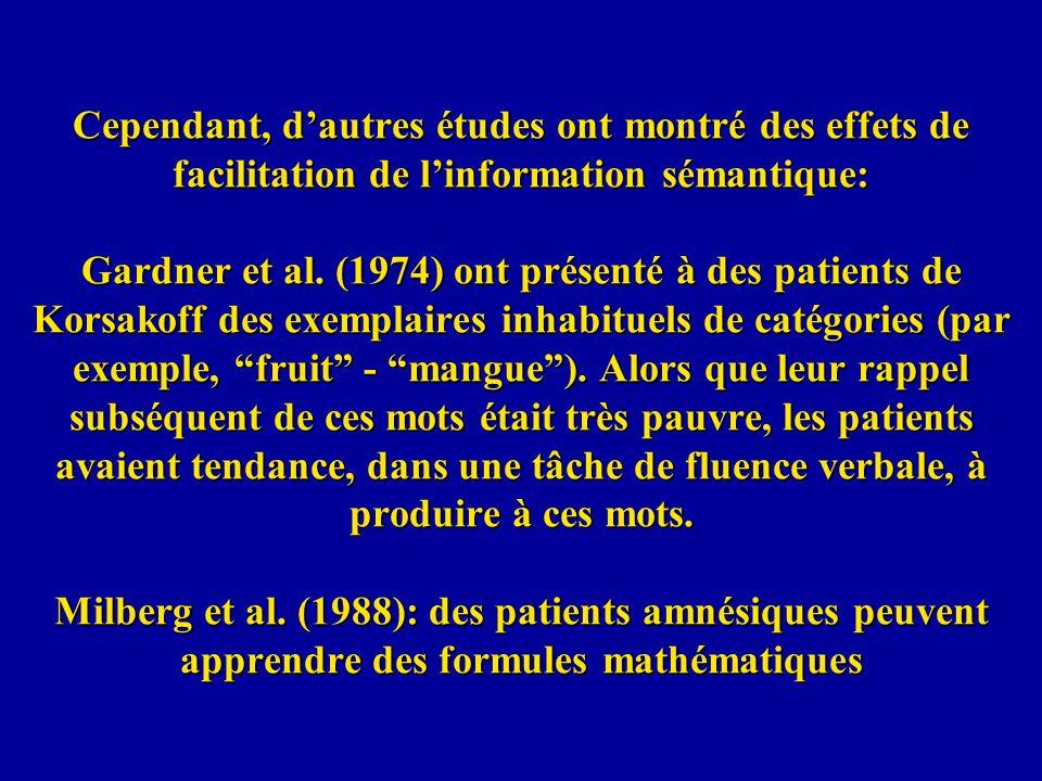Cependant, d'autres études ont montré des effets de facilitation de l'information sémantique: Gardner et al.