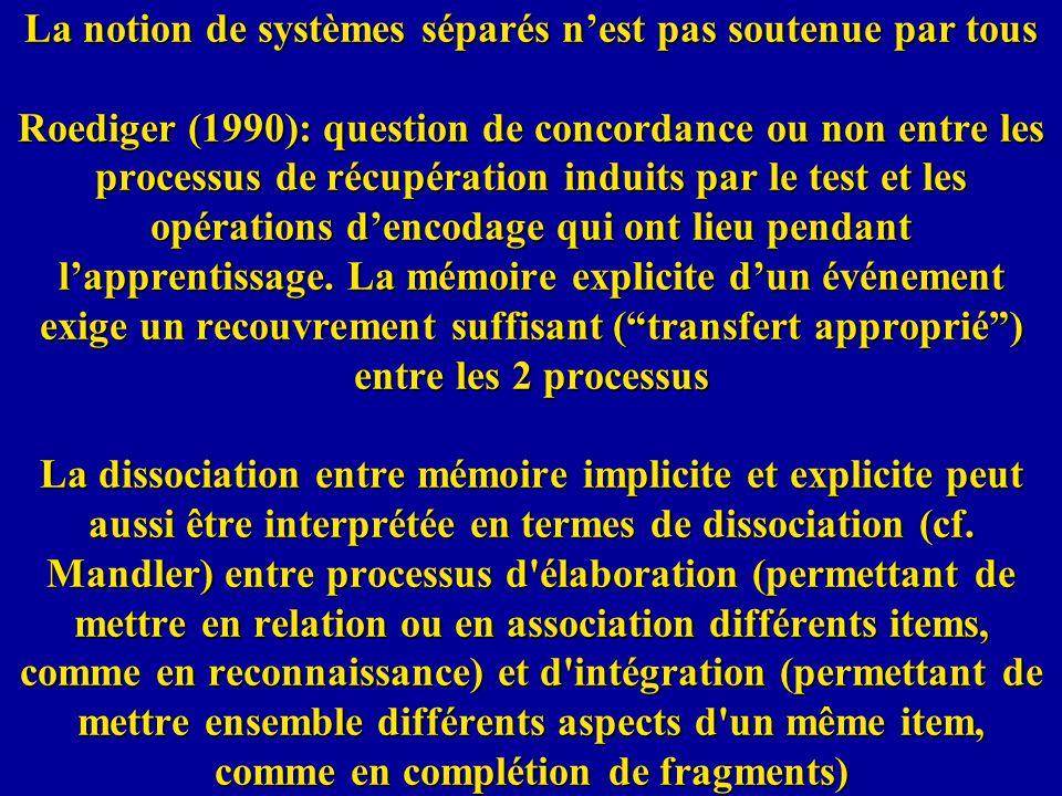 La notion de systèmes séparés n'est pas soutenue par tous Roediger (1990): question de concordance ou non entre les processus de récupération induits par le test et les opérations d'encodage qui ont lieu pendant l'apprentissage.