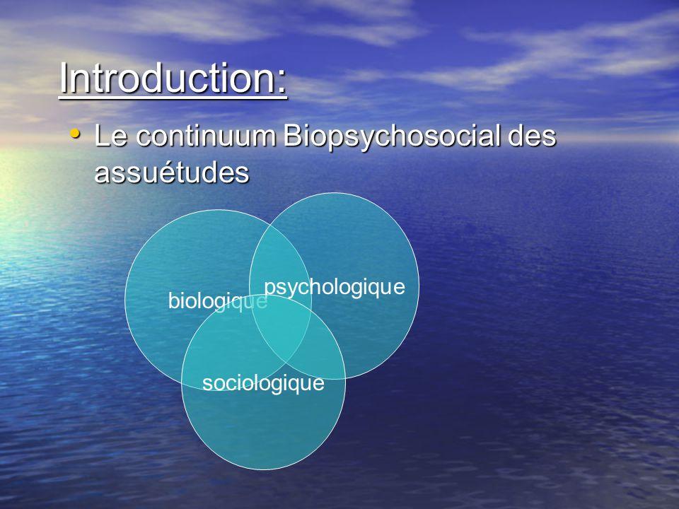 Introduction: Le continuum Biopsychosocial des assuétudes